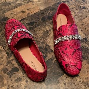 Shoe Dazzle Red Snakeskin Loafers